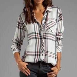 Rails sz M flannel Hunter top white, black & red
